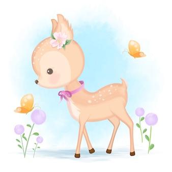 아기 사슴과 나비 손으로 그린 동물 만화 일러스트 레이션
