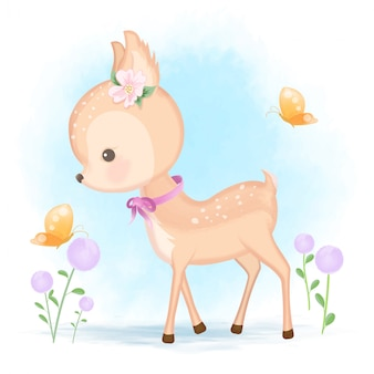 Baby deer and butterfly hand drawn animal cartoon illustration