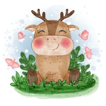 Illustrazione carino cervo bambino sedersi sull'erba con farfalla