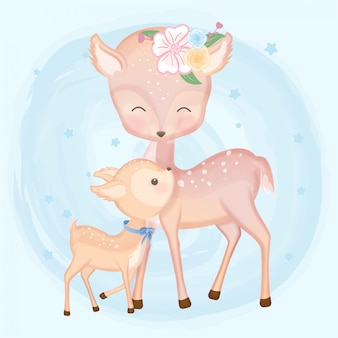 Baby deer and mother hand drawn animal