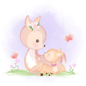 Baby deer and mother hand drawn watercolor illustration
