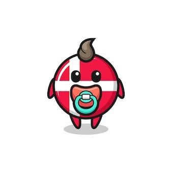 おしゃぶり、tシャツ、ステッカー、ロゴ要素のかわいいスタイルのデザインと赤ちゃんのデンマークの旗バッジ漫画のキャラクター