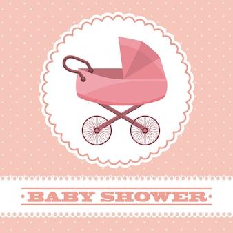 분홍색 배경 벡터 일러스트 레이 션을 통해 아기 디자인