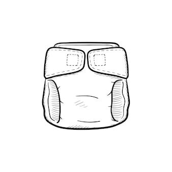 赤ちゃんのおむつ手描きのアウトライン落書きアイコン。おむつの使い捨ての概念と白い背景で隔離の印刷物、ウェブ、モバイル、インフォグラフィックの新生児衛生ベクトルスケッチイラスト。