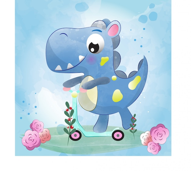Baby dino cute character painted with watercolor