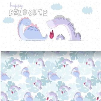 赤ちゃん恐竜のかわいいイラストとシームレスパターンセット
