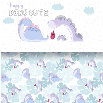 Baby dino cute illustration and seamless pattern set