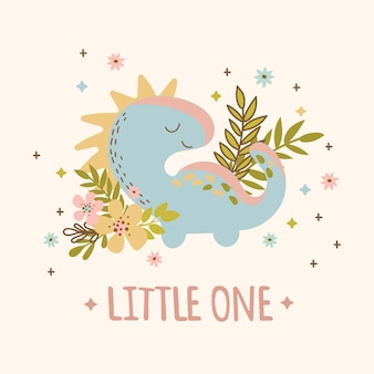 Baby dino hand drawn flat design grunge style birthday cartoon prehistoric animal kid apparel vector illustration for print