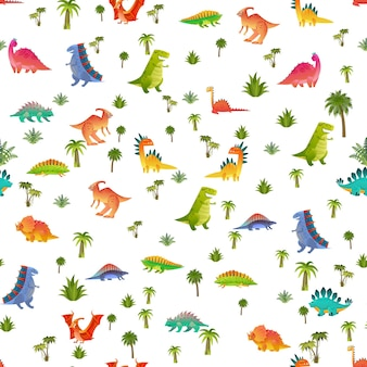 Детские дино бесшовные модели. животный дракон и милый динозавр природы в джунглях, детская яркая текстура рептилий для детских обоев, тканей и оберточной бумаги, векторный фон, изолированные на белом