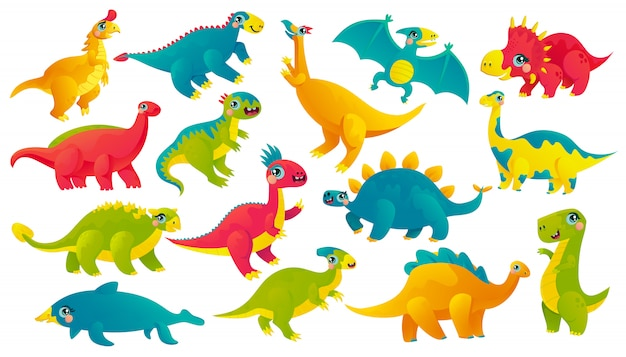 Baby dinosaurs cartoon stickers set. emoji prehistoric reptiles icon collection. ancient monsters with cute faces vector characters. jurassic beasts scrapbook patches. extinct animals