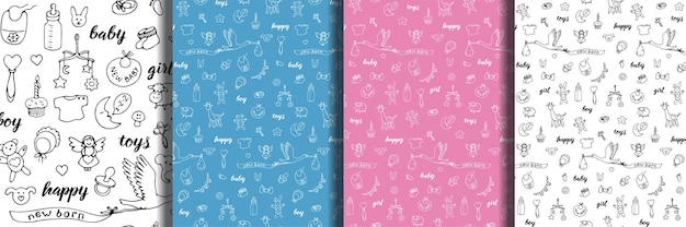 Baby doodle and lettering hand drawn seamless patterns set cartoon wallpapers with baby girl toy