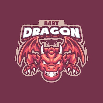 Логотип baby dragon mascot для киберспортивной и спортивной команды