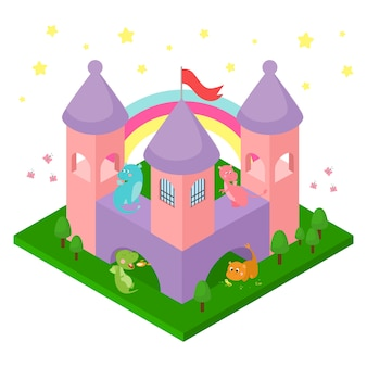 Baby dragons in castle illustration isometric isolated.
