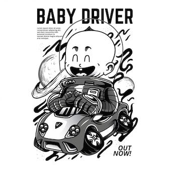 赤ちゃんの運転手黒と白のイラスト Premiumベクター