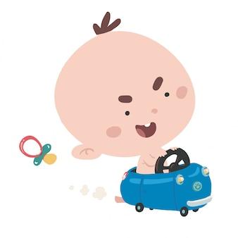 최고 속도로 차를 운전하는 아기