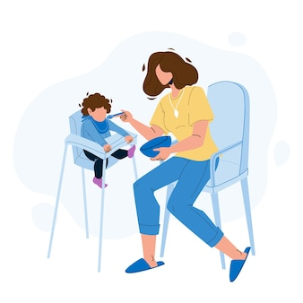 食欲のベクトルと赤ちゃんを食べる食べ物の朝食。ハイチェアに座っているスプーンの子供を食べている母親、小さな子供は食欲をそそる食事を食べます。キャラクター女性と幼児フラット漫画イラスト