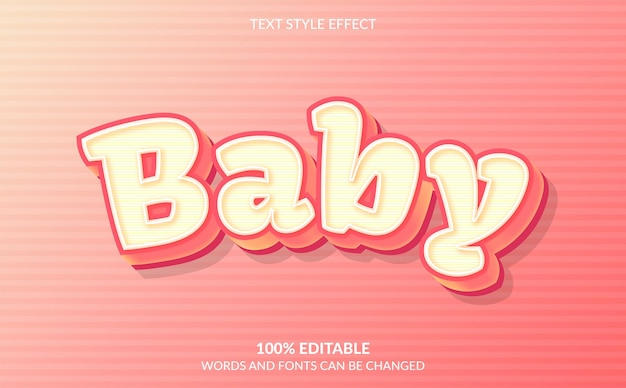 Baby editable text effect style