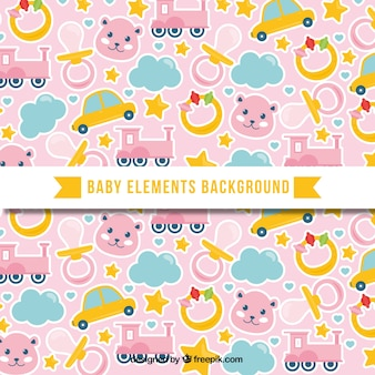 Baby elements background in flat style
