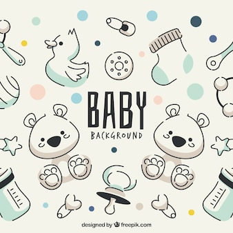 Baby elements background in hand drawn style