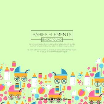 フラットスタイルの赤ちゃん要素の背景
