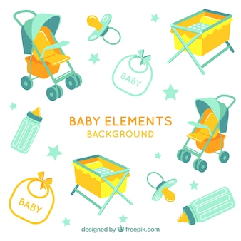 Baby elements background with cute toys and clothes