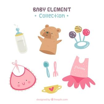 Raccolta di elementi del bambino in stile piatto