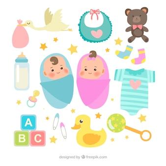 평면 스타일의 아기 요소 컬렉션