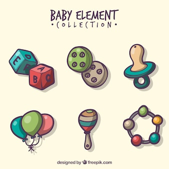 Baby elements collection in hand drawn style