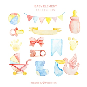 Baby elements collection in watercolor style