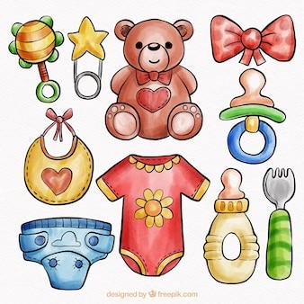 Raccolta di elementi del bambino in stile acquerello