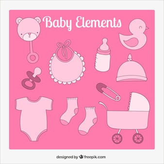 Baby elements in pink tones