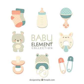 Baby elements set in flat style