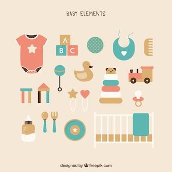 Elementi del bambino impostato in stile piano