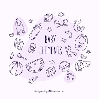 Baby elements set in hand drawn style