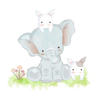 Baby elephant and bunnies illustration