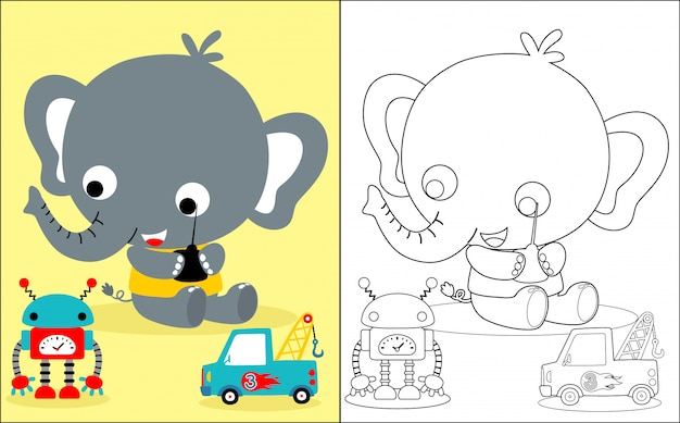 Baby elephant cartoon with toys