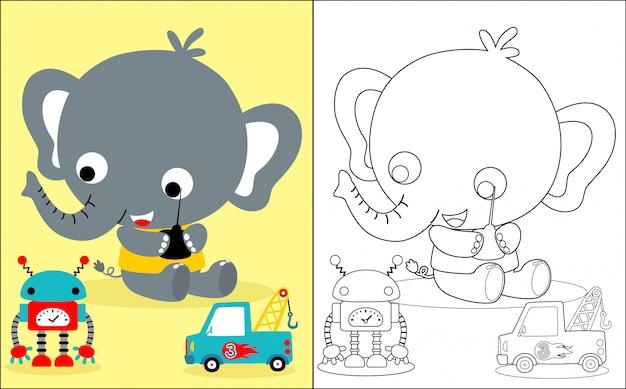 Baby elephant cartoon with toys