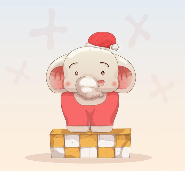 Baby elephant celebrate christmas