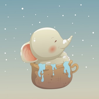 Baby elephant in the cup