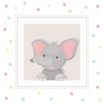 Baby elephant. cute child illustration.