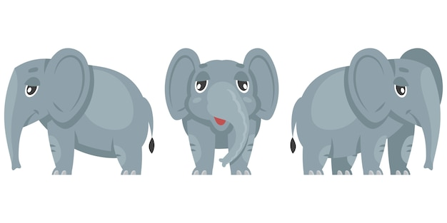 Baby elephant in different poses illustration