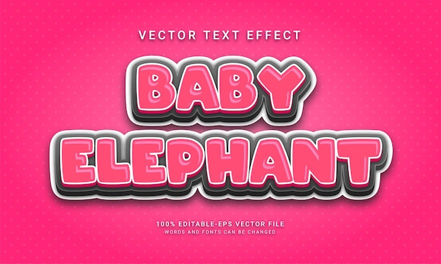 Baby elephant editable text effect with cute animals