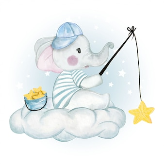 Baby elephant fishing star above the cloud