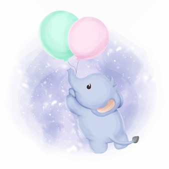 Baby elephant fly with balloons