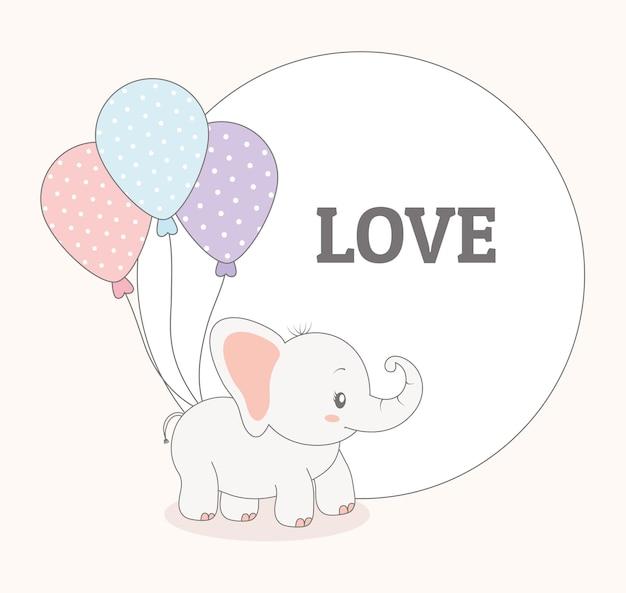 아기 코끼리 인사말 카드