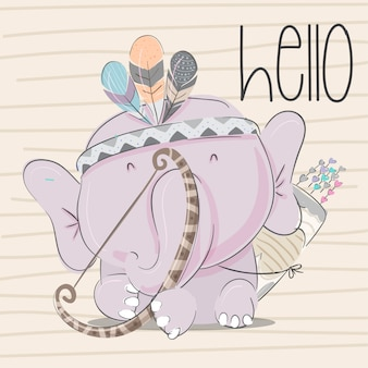 Baby elephant hand drawn animal illustration-vector