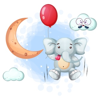 Baby elephant holding balloon with moon, clouds