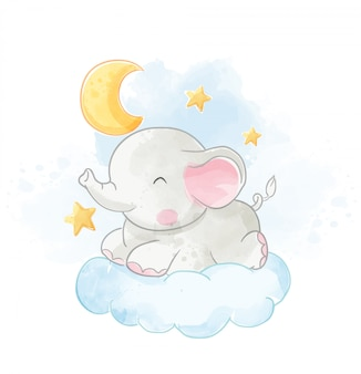 Baby elephant lying on cloud with the moon illustration
