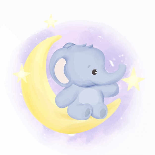 Baby elephant on the moon