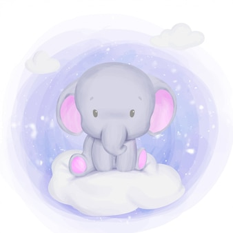Baby elephant newborn sit on cloud